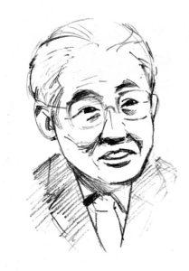 渡辺西京銀行頭取の似顔絵です。