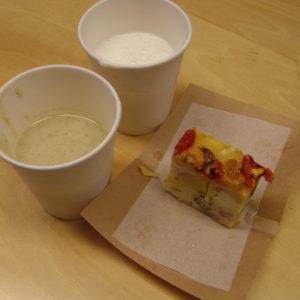 ラッシー、ケークサレ、じゃがいもの豆乳スープをいただきました。