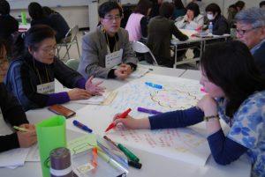 ワールドカフェで、模造紙に意見を書き込む参加者です。