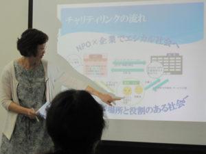 スライドを用いて事業の説明をしています。