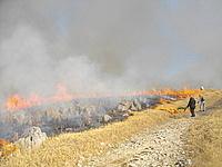 山焼き火入れ光景